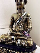Beautiful Meditation Buddhas Statue. Adorned In AMETHYST Swarovski Elements