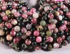 """GORGEOUS NATURAL MULTI-COLOR TOURMALINE 7MM ROUND BEADS 15.5"""" STRAND"""