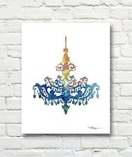 Vintage Chandalier Abstract Watercolor Painting 11 x 14 Art Print by Artist DJR