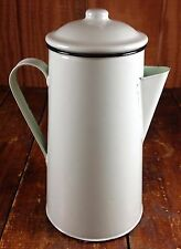 PORCELAIN ENAMEL WARE METAL LIGHT GREEN COUNTRY KITCHEN COFFEE POT WITH LID