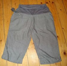 BNWT MATERNITY Grey Twill Cropped Cotton Trousers Size 14
