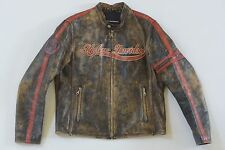 Harley Davidson Mens Rare Racing Distressed Leather Jacket L XL European Edition