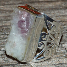 Kunzite Cabochons Rough 925 Sterling Silver Ring Jewelry s.7.5 JJ5253