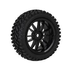 4x RC1:10 On Road Car Beard Pattern Rubber Tyre 12 Spoke Plastic Wheel Rim Black