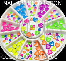 #S14  3D Neon Color Rivet DIY Nail Art Decoration Star Square Heart Stud Sticker