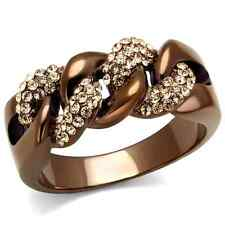 HCJ UNISEX MEN'S COFFEE TONE STAINLESS STEEL CRYSTAL FASHION RING SIZE 10