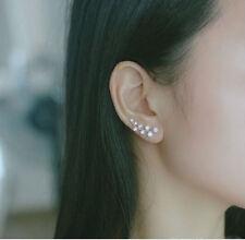 flower 925 sterling silver stud earring Ear Sweep Wrap branch Crystal Earring