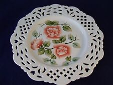 Porcelain Pierced Display Plate Decorative Pink Roses