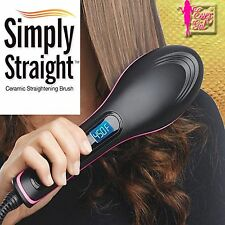 Boxed SIMPLY STRAIGHT LCD Digital Electric CERAMIC Heat Hair Straightening BRUSH