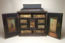 Very Rare Mid 17th Century Dutch or German Ebonised Table Cabinet Paintings 16th