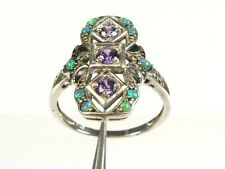 .33ctw Natural Amethyst and Opal Victorian Deco Sterling Filigree Ring s8 110b
