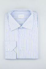 New. ERMENEGILDO ZEGNA Milano Blue Striped Cotton Dress Shirt Size 44/17.5 $375