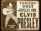 Elvis Presley Tupelo TIN SIGN b&w Photo Concert Poster Vtg Metal Wall Decor