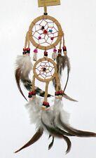 Traumfänger beige MUSCHELN +Steine,2 Ringe, Indianer Cowboy Deko, Dreamcatcher