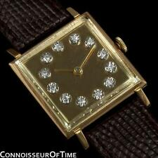 1950's JAEGER-LECOULTRE Vintage Mens Square Watch with Two Dials - 18K Gold