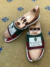 Gucci Mens Sandal Flip Flop White Rubber Green Leather Red Shoes UK 10 US 11 44