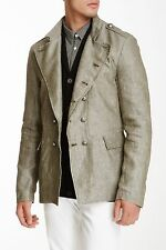John Varvatos Double Breasted Linen Officer Jacket Size XL