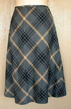 INC 6 Gray Yellow Gold Plaid Fully Lined A-line  Knee Length Skirt