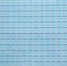 "1x1 Glass Tile Mosaic Kitchen Bath Wall: Light Blue - 12""x 12"""