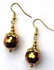ROUND FACETED BRONZE CRYSTAL & GOLD EARRINGS -WITH ORGANZA GIFT BAG