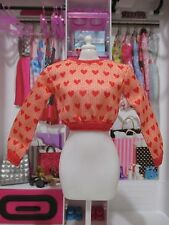 Barbie Doll Clothing FASHIONISTAS ADD ONS pink sweetheart long sleeve sweatshirt