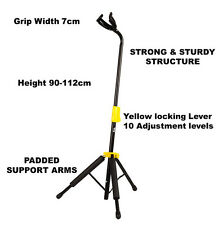 Self Locking Guitar Stand by Quincy auto grip pro stage gig black yellow