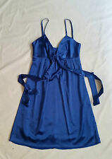 Wish Blue Satin Evening Cocktail Dress Party Club Sexy Cute Bow Detail Size 8