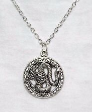 """Dragon Necklace; Silver Medallion Style 18"""" Necklace"""