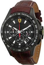 Ferrari Scuderia 830045 Chronograph Black Dial Men's Leather Watch New In Box