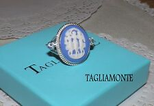 TAGLIAMONTE(534)Ring*925*Blue and White Porcelain Cameo+Blue Topaz*THREE GRACES*