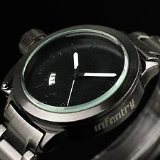 INFANTRY Mens Quartz Wrist Watch Date Sport Army Black Stainless Steel Luxury US