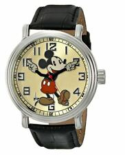 """Disney Men's 56109 """"Vintage Mickey Mouse"""" Wrist Watch Black Leather Band Battery"""