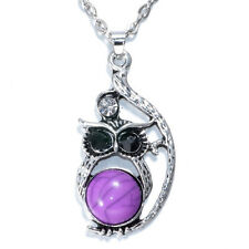 NEW Vintage Crystal Owl Pendant Necklace Long Chain Rhinestone Jewelry