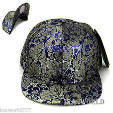 Floral Hawaiian Golden flower hat Baseball cap Flat Bill hiphop visor  Blue base