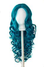 28'' Center Part Wig w/ Long Layered Curls No Bangs Turquoise Blue Cosplay NEW