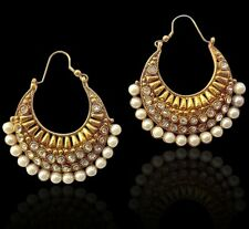 Ethnic Indian Jewelry Bollywood Pearl Polki Bali ADIVA hoop Earring ACEAZ002WH