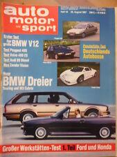 AUTO MOTOR UND SPORT 29.8.- 18/1987 BMW 750i L Zender Vision 3 Volvo 480 Audi 80
