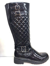 LADIES WOMENS KNEE HIGH BLACK LEATHER FAUX LOW HEEL QUILTED BOOTS SHOES SIZE 7