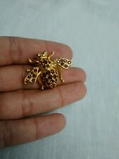 Pretty Joan Rivers  swarovski  brown   crystal pave green eyes bee pin brooch