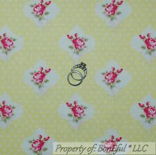BonEful FABRIC FQ Cotton Quilt Yellow White Pink Swiss Dot Rose Bud Flower Girl
