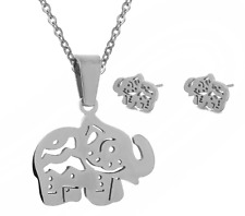 SUPER Adorable *Elephant* Stainless Steel Silver Jewelry Set: Earring+Necklace