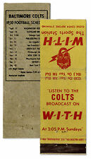 Colts 1950 Season Radio Station Matchbook Schedule