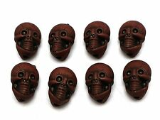 20pcs Brown Halloween Gothic Skull Acrylic Beads 25mm (Double side)