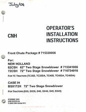 CASE/IH/NH FRONT PKG SNOWBLOWER HEAD OPERATOR'S MANUAL