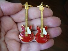 (M300-D) Red GIBSON ES-335 Repro '58 GUITAR PAIR of EARRINGS earring Jewelry