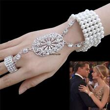 1920's The Great Gatsby silver diamante Pearls bracelet&ring Bridal Accessory