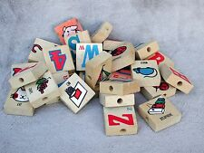 28 Vintage Wood Alphabet Letter Blocks Childs Wooden Play Toy