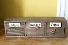 NIB Wooden Herb Storage Spices 3 drawers Shabby Chic Kitchen Box Seed Rack VAT