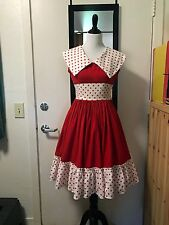 Vintage 50s Red Polka Dot Dance Dress Square Dance Small 36 bu, 26 waist