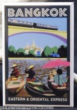 Bangkok Vintage Travel Poster - Fridge / Locker Magnet. Thailand Asia